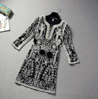 Top Quality!New Fashion Runway Autumn Dress 2014 Women Allover Embroidery Loose Pattern European Party Dress Brand Vestido XXXL