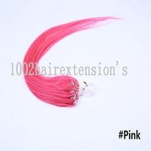 5A grade 18 inch micro ring/loops hair extension real straight hair 100s/lot 50g/lot #Pink(China (Mainland))
