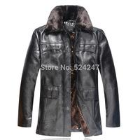 Men'S Winter Jacket Fur Collar Thick Leather Jacket Men Plus Velvet  Brand Coat  Casual Leather Jacket   Plus Size 3XL XG50-218