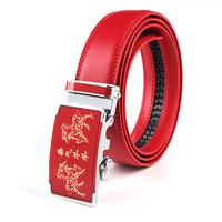 Wholesale high-end men's automatic buckle leather belt men unlicensed automatic red leather belt buckle ZX-369