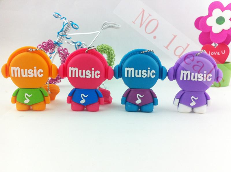 mini cute cartoon musician 8GB 16GB 32G USB Flash 2.0 Memory Drive Stick Pen Thumb/Car/Pen creative music man Gift free shipping(China (Mainland))