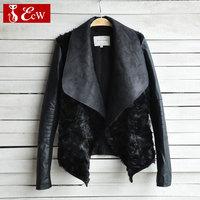 NEW Winter Women Jacket Woman Leather Coats 2015 Fashion Women Rabbit Fur Coat High Quality Famale Outerwear