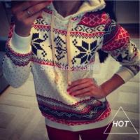 2014 New Winter Autumn Warm women hoody sweatshirt Snow Print hoodies high quality pullover weight WF-664