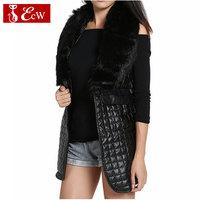 NEW Winter Women Coat  Faux Fur Vest 2015 Long Down Fur Coat Fashion  PU Leather Jacket Women Plus Size Winter