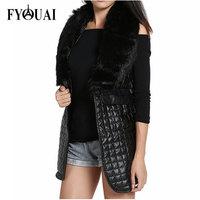 FYOUAI NEW Winter Women Long Down Fur vest Fashion Coats 2014 Faux Fur Vest PU Leather Jacket Women Plus Size Winter