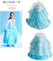 1PCS+Free 2014 Hot New Arrive Girls Frozen Dress Elsa Beautiful Dress Frozen Snow Princess Dresses Children's Clothing