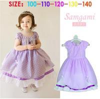New frozen cartoon sofia princess tutu dress for children cute girls party dress summer brand dot flower girl dress purple