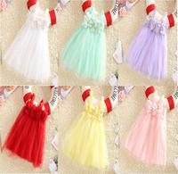 Brand! 2014 summer baby girls dress chiffon flower dress 6 color cute frozen dresses girls baby Beach dress 1-5years