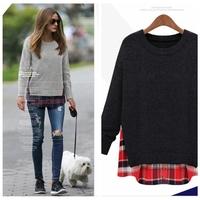 Cheap M-2xl 3xl 4xl 5xl plus size women clothings 2014 autumn winter patchwork sweater plaid knitted top blouses shirts