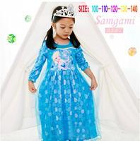 Brand Frozen Girls Summer Princess yarn shawl long-sleeved dress Elsa Costume Lace Flower Baby Kids Girl Party Dress
