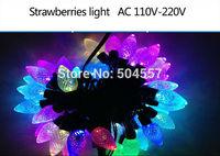 Free shipping 110-220V strawbarry shape Christmas led string Lights 5m/50leds RGB light for Holiday/Party/Decoration