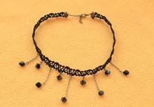2014 Hot Sale Tattoo Choker Necklace Black Acrylic Beads Tassel Necklaces Gothic Jewelry Cheap Velvet Choker