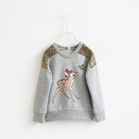 2014 Baby boys T-Shirts Clothing Children Clothing Long Sleeve New Carton lovely deer Children hoodies kids jackets