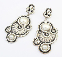 Vintage Ethnic Dangle Earrings White Beads Statement Drop Earrings New Fashion Statement Earrings Jewelry BJE908929