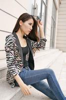 2014 Hot Sell New Blazer Feminino Single Button Notched Full Sleeve Cotton Blend Chiffon Zebra Veins Print Summer Autumn