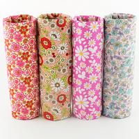 FREE SHIPPING 4 piece mixed 45x50cm pink daisy cotton poplin fabric fat quarter dress sewing cloth tecido telas patchwork W4B1-4