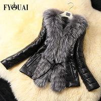 FYOUAI NEW Winter Women Faux Fur Coat Fashion PU Jacket For Woman High Quality Women Jacket Design Female Black Fur Plus Size