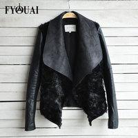 FYOUAI 2014 NEW Winter Woman Leather Coats High Quality Famale Outerwear Fashion Women Rabbit Fur Coat