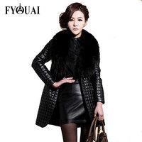FYOUAI Winter Long Women Down Fur Coat 2015 Woman PU Leather Coats Plus Size Parka Coats High Quality Women Jacket