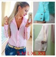 Fashion new women blouses 2014 hot selling casual fashion collar button long sleeve OL lady shirt top blusas feminious