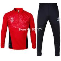 2014 red long sleeve soccer training suit pants suit pants leg Champions League soccer sportswear collection