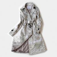 2014 News High quality Fashion elegant printing long paragraph trench coat