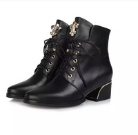 best-selling 2014 boots thick heel high heeled Martin boots head layer cowhide leather fashion boots Free shipping