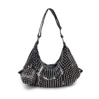 women fashion retro rivet punk denim bag female portable big shoulder bags