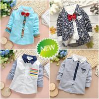 2015 Spring new Retail 1 piece boy baby shirts long sleeve kids shirts boy children shirts boys shirts PANYA QWH56
