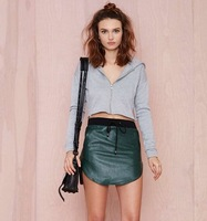 European and American Solid Drawstring Hooded Sweatshirt For Women Off Shoulder Long Sleeve Zip-front Short  Crop Tops