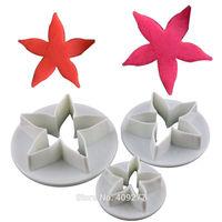 Free shipping 3PCS Star flower shape mold sugar Arts set Fondant Cake tools/cookie cutters