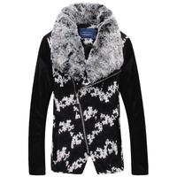 New winter jacket Wool blends mens coats Casual coat man Fur collar Patchwork design Luxury Drop shipping New 2014