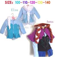 New Arrival 2014 hooded fleece girls Anna Elsa Frozen Jacket