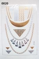 Free shipping 2014 20PCS/SET Tattoo Sticker  Green Gold and Silver Jewelry Temporary Ttattoo Sticker