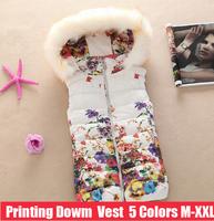 Ladies Cotton Vest Jacket 2014 Winter Women Printing Vest Short Paragraph Slim Down Hooded Vest Fur Collar Plus Size Veste Femme