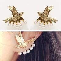 Gold Vintage Punk Lovely Flying Bird Pearl Stub Earrings for Women