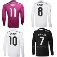 Camiseta Real Madrid Long Sleeve 2015 Soccer Jersey JAMES Ronaldo Isco bale kroos Football Home Away Third Shirts Jersey 2014