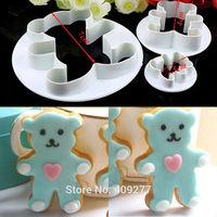 Free shipping 3PCS bear mold sugar Arts set Fondant Cake tools/cookie cutters