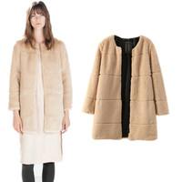 European 2014 Brand New Fashion ZA Women Fake Fur Coat Winter Beige Warm Long O neck Jacket Outerwear Free shipping Wholesale