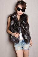 2014 fashion fox fur vest ladies vest genuine fox fur vest jacket woman natural silver fox vest free shipping