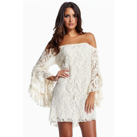New 2014 Summer Sexy Women Lace Flare Sleeve Strapless Mini Dress Vestidos, Black, White, M