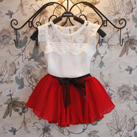 Retail,New Mesh Lace ,Dress Girl,Toddler's Girl's Lovely Sleeveless Bow Princess Dress,Solid Chiffon High Quality ,Freeshipping