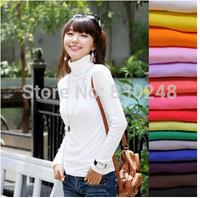 Pullovers New 2014 Women's Spring New Arrival Milk Velvet Turtleneck Long-sleeve Basic Shirt White Solid Sweater