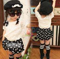 wholesale(5pcs/lot)-child girl summer  lace shirt and shorts set