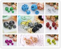 Hot! 10 colors ! Yarn Ball Earring Double Sides Pearl Earring Two Ball Stud Earrings