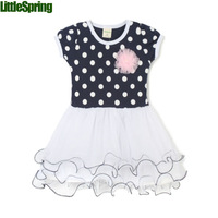 In stock! 2014 summer girls dress tutu kid girls princess casual Girls lace flower dot one-pieces girl dress
