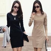 Free shipping new OL Womens Lady autumn Long Sleeve Slim Fit Casual dress cotton winter Mini Dress plus size S-3XL