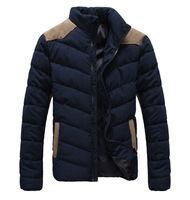 2014 New Arrival Men's Casual Warm Coat With Cotton-padded and Stand Pure Color High Quality Whole Sale MWM542