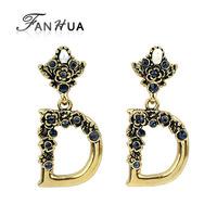 D Shape Vintage Gold Color Drop Earrings with Blue Rhinestone New Orecchini for Women Brincos Bijuterias