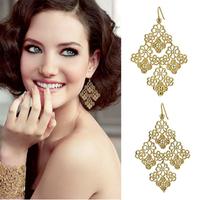 Women Vintage Cutout Bohemia Lace Drop Earrings Exquisite Hollow Lady Party Earrings Wedding Jewelry Earrings Bride